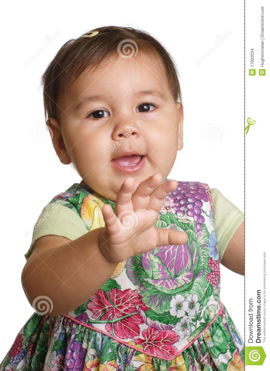 Baby Girl Waving Hello Stock Images.
