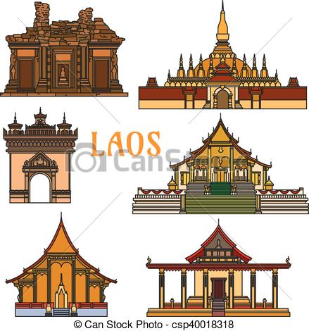 Vector Clip Art of Historic buildings and sightseeings of Laos.