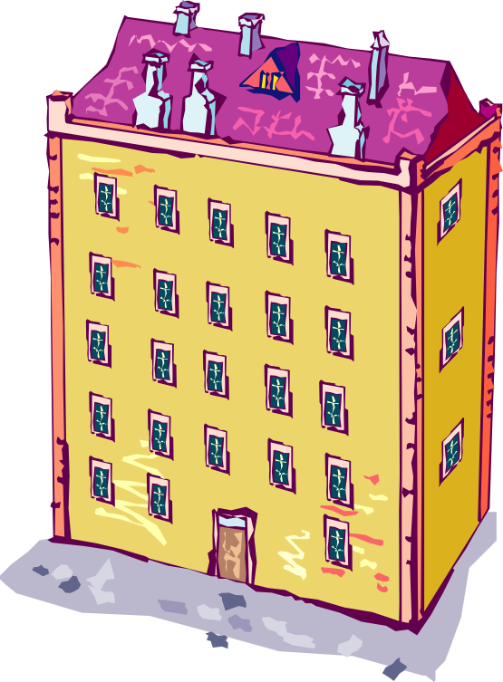 Old Tall Buildings Clipart.