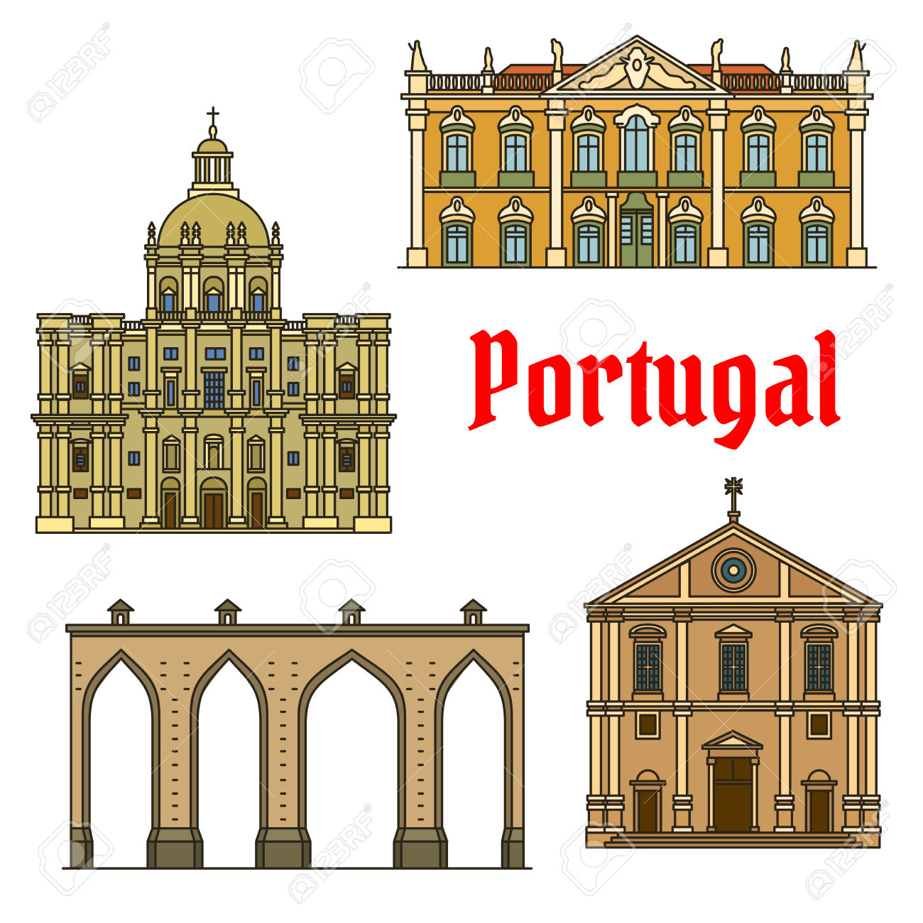 Historic Buildings Of Portugal. Vector Detailed Icons Of Aqueduto.