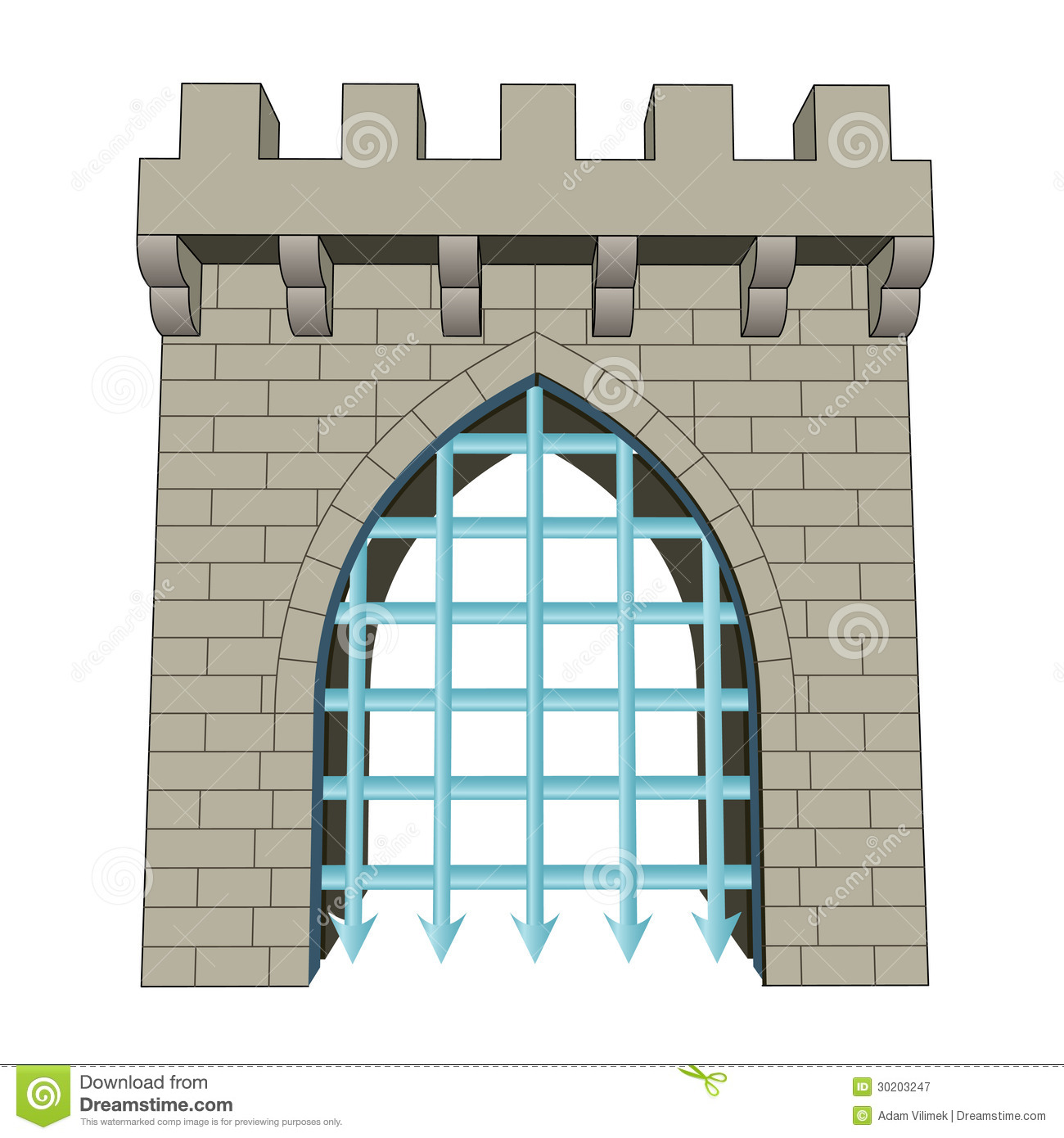 Old Medieval Castle Stone Gate Iron Door Stock Illustrations.
