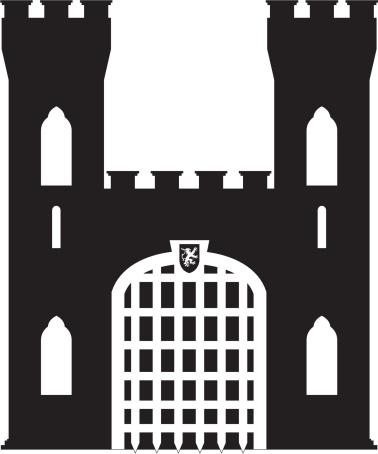 Medieval castle silhouette clipart.