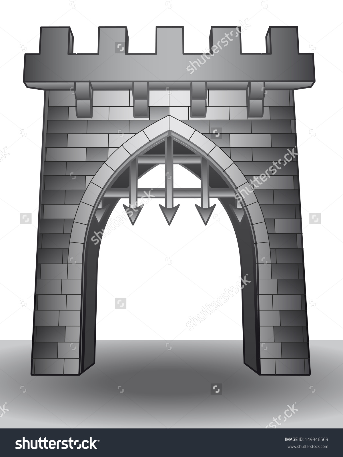 Castle windows vector.