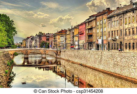 Stock Photography of View of the historic centre of Sarajevo.