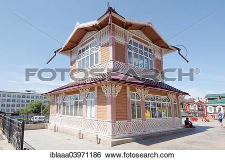 """Stock Images of """"Wooden log house, historic city center, Irkutsk."""