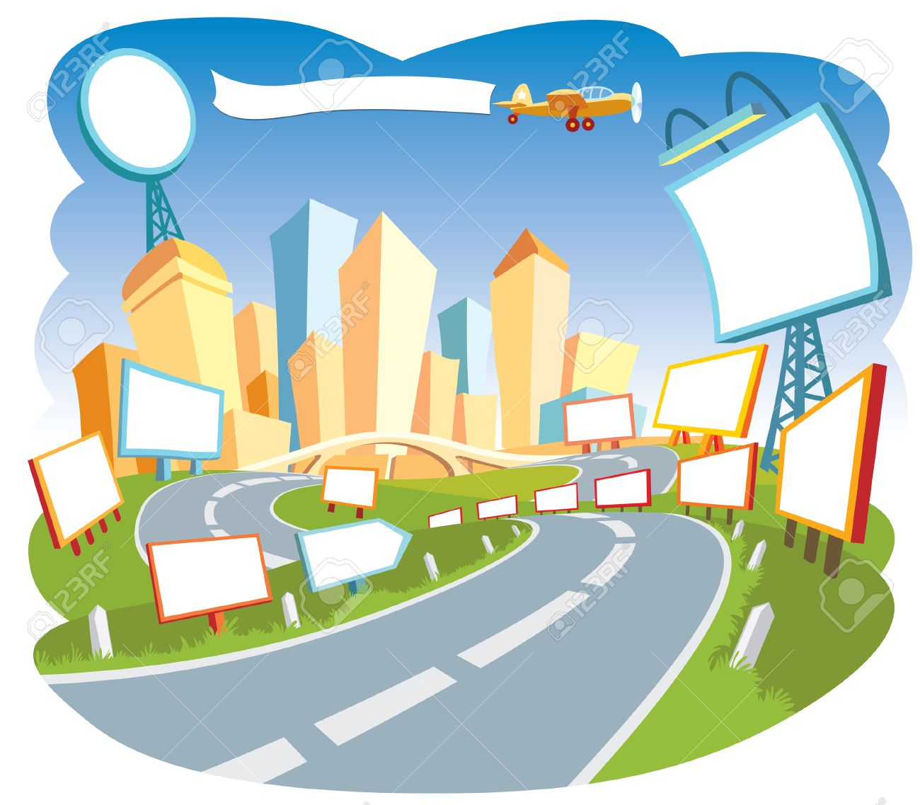 Road To A City Center 2. Royalty Free Cliparts, Vectors, And Stock.