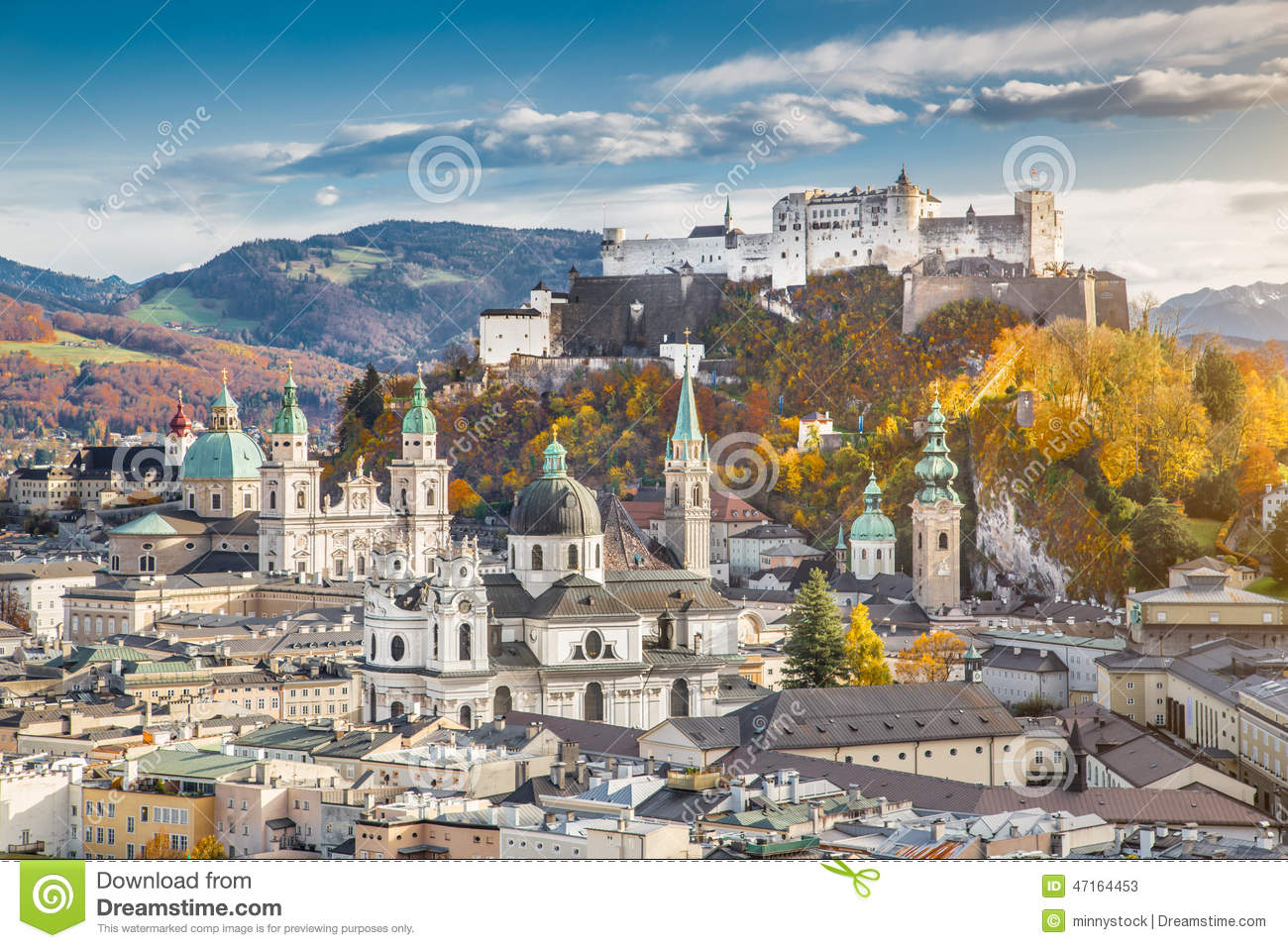 Historic City Of Salzburg In Fall, Austria Stock Photo.