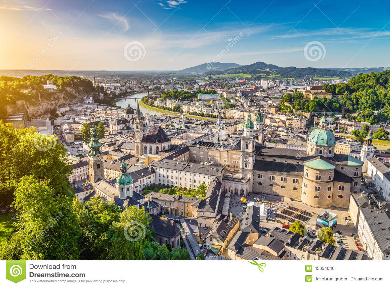 Aerial View Of The Historic City Of Salzburg, Austria Stock Photo.
