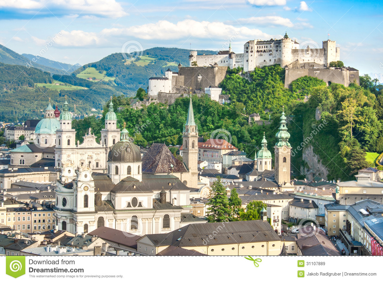 Beautiful View Of The Historic City Of Salzburg With Festung.