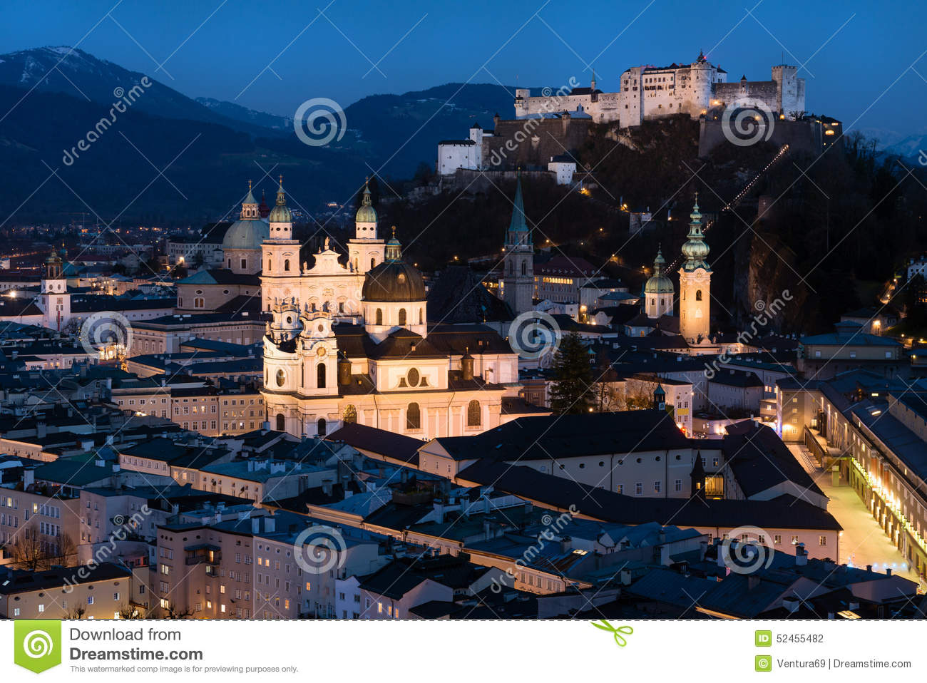 Historic City Center Of Salzburg At Night, Austria Stock Photo.