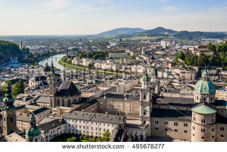 Historic city centre salzburg clipart #12