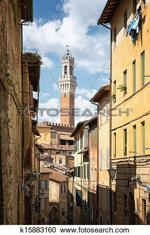 Stock Photography of The historic city of Siena in Tuscany.