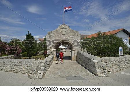 "Stock Photography of ""Historic city gate, Nin, Zadar County."