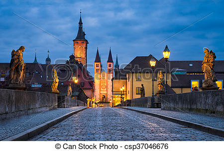 Picture of Historic city of Würzburg, Bavaria, Germany at night.