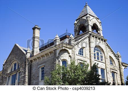 Stock Photos of Historic City Hall in Amherst, Ohio. csp4039213.