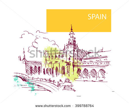 Hand Drawn Spain Street Sketch Historic Stock Vector 393048679.