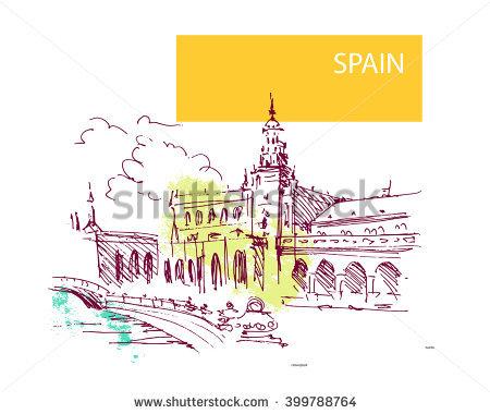 Hand Drawn Spain Street Sketch Historic Stock Vector 393048679.