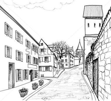 City Street Clipart Black And White Historic City Street #15JcSb.