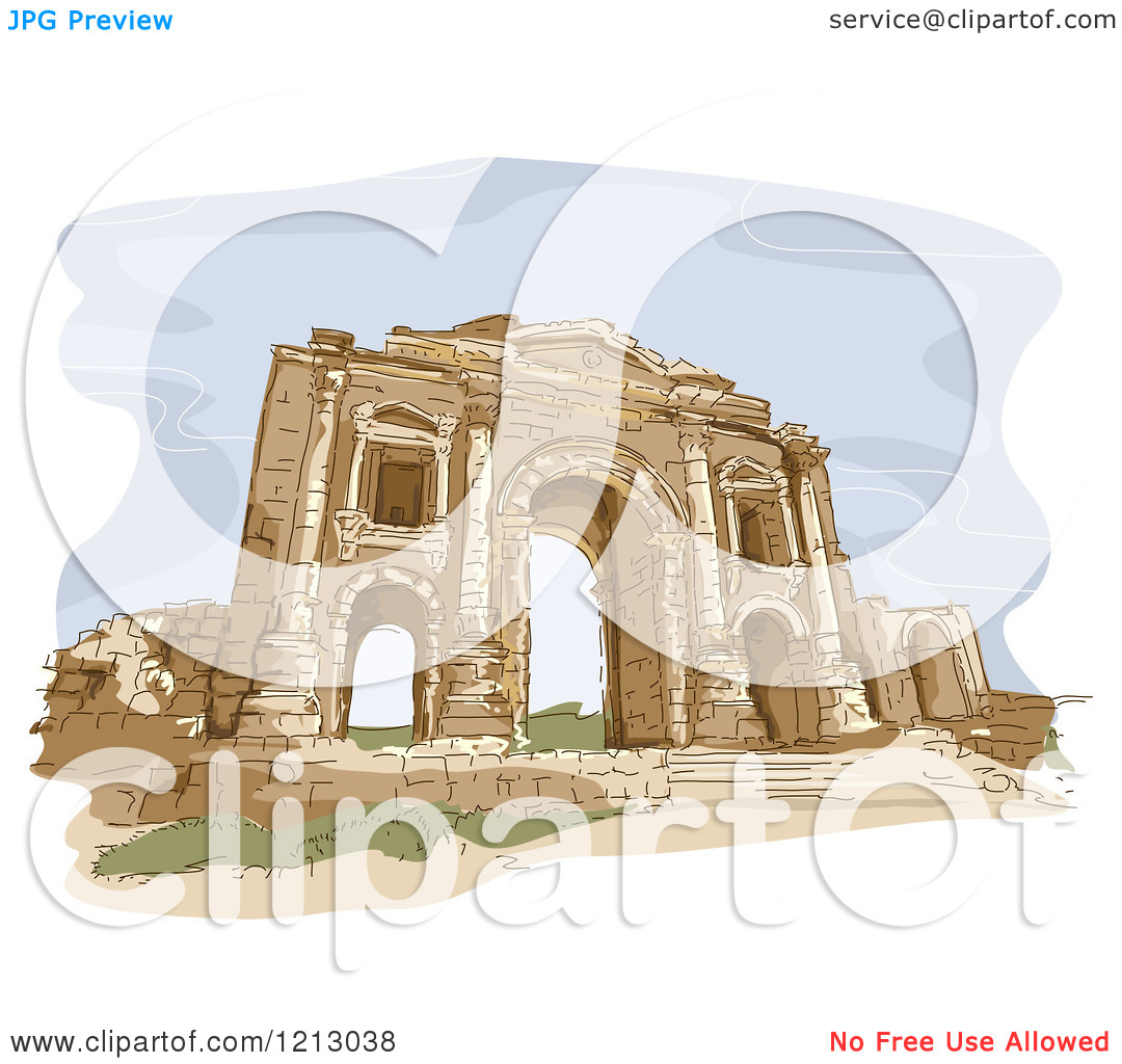 Clipart of a Gate in the City of Jerash in Jordan.