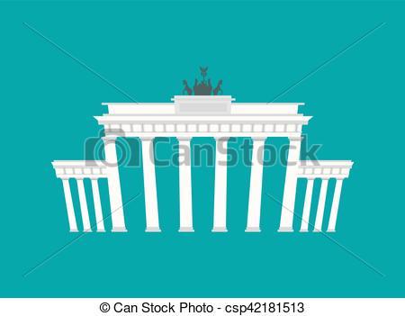 Vector Clip Art of Brandenburg Gate, Landmark Germany. Historic.
