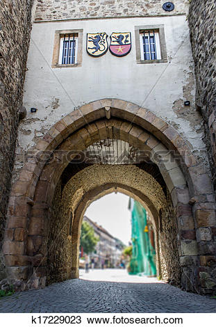 Stock Photo of historic german city wall gate tower k17229023.