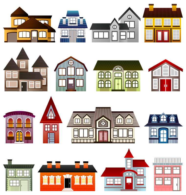 Victorian homes clipart.