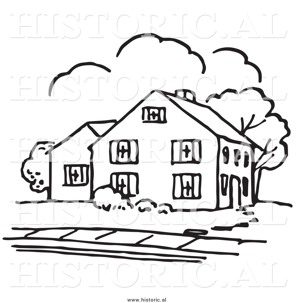 Historical Vector Clipart of a House Outline with Trees and a.