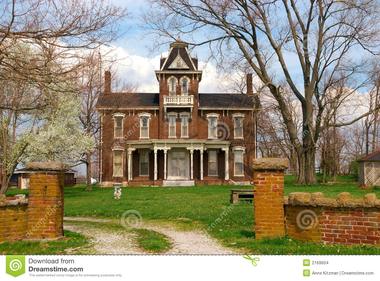 Brick historic house clipart.