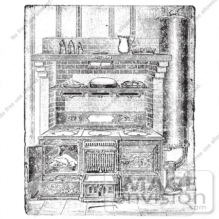 Retro Clipart Of A Vintage Antique Kitchen Range And Appliances In.