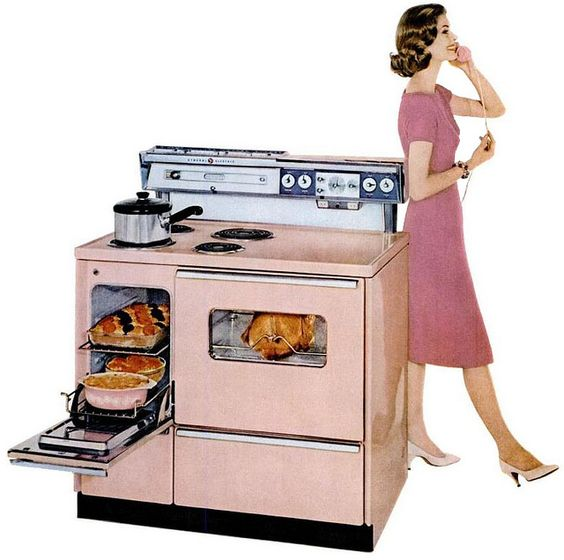 Every woman should have a pink stove. general electric 1959.