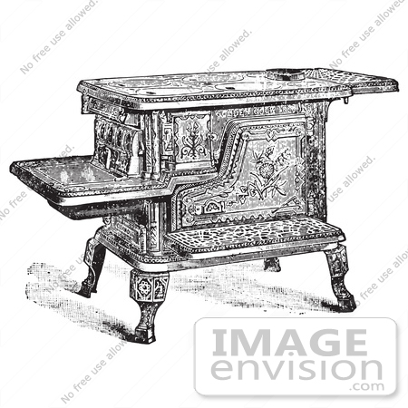 Retro Clipart Of A Vintage Antique Wood Or Coal Cooking Stove In.