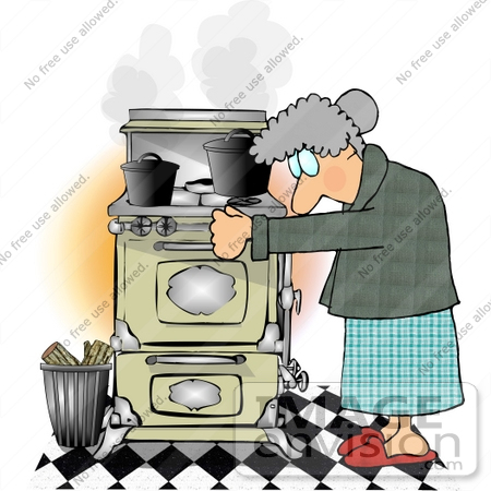 Old Caucasian Woman Using a Very Old Wood Kitchen Stove Clipart.