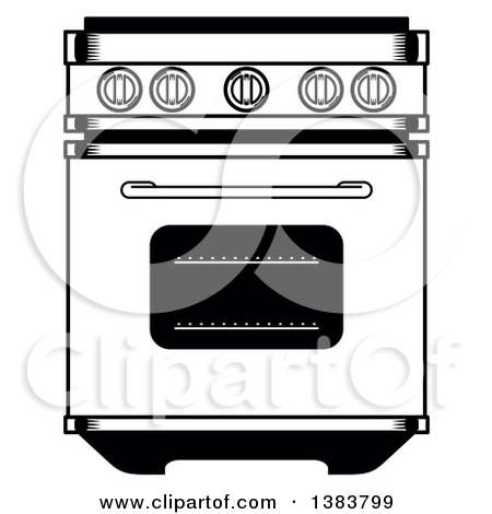 Oven clipart black and white