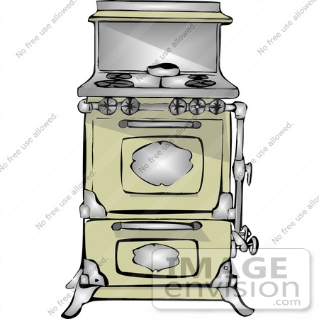 Old Fashioned Kitchen Stove and Oven Clipart.