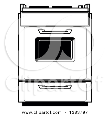 Clipart of a Black and White Vintage Kitchen Range Oven.