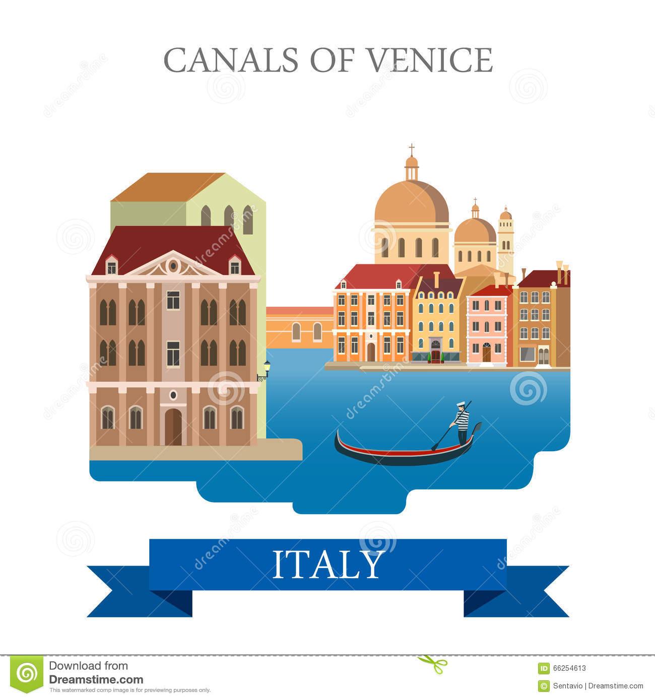 Canals Of Venice Gondola Italy Flat Vector Attraction Landmark.