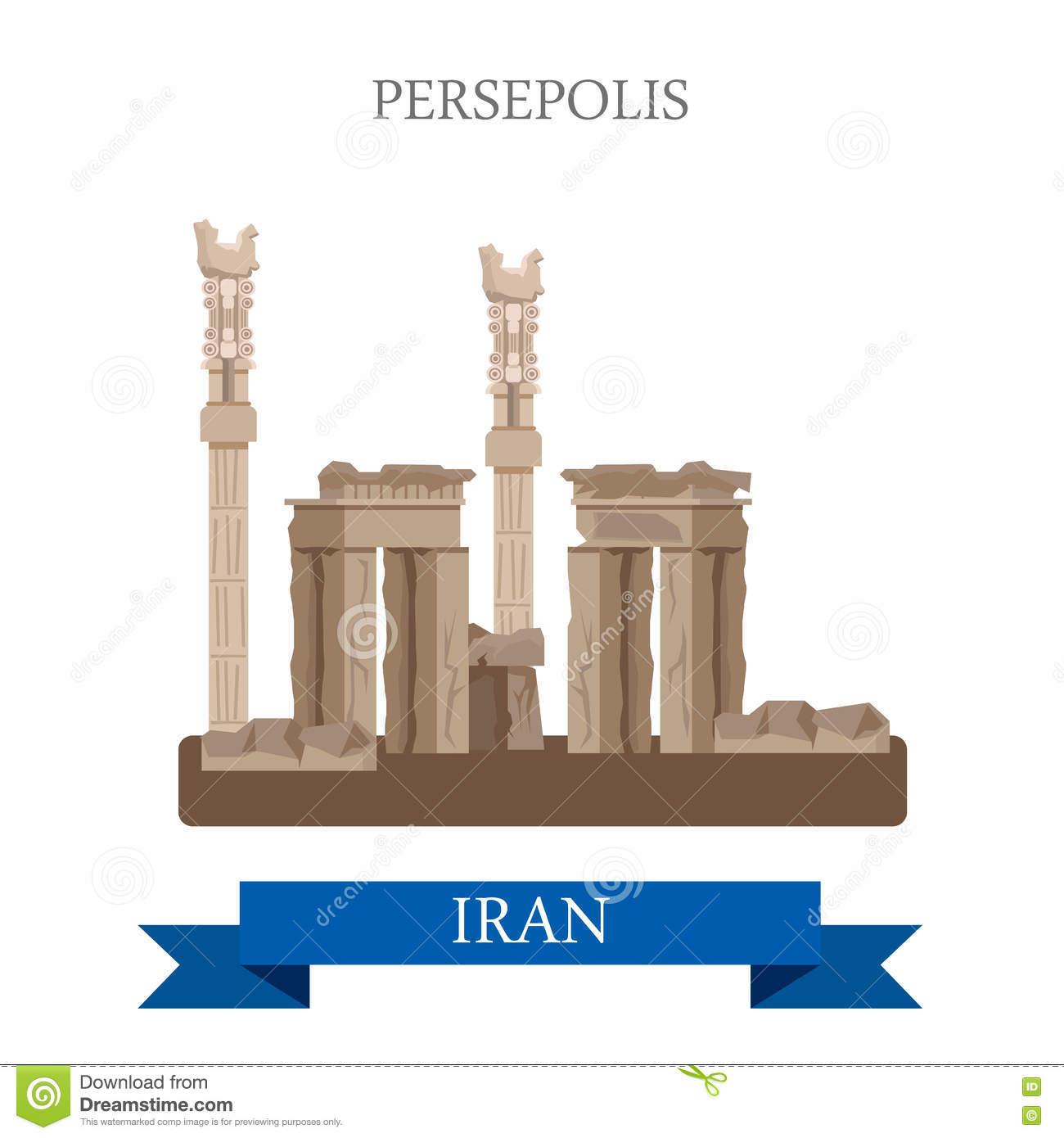 Persepolis In Iran Vector Flat Attraction Landmarks Stock Vector.