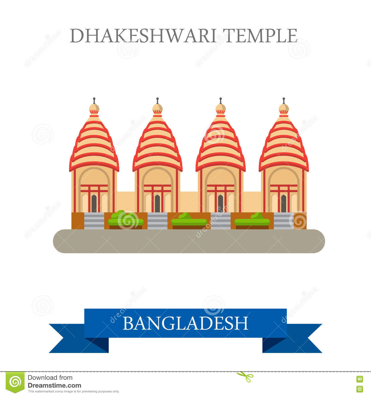 Dhakeshwari Temple Bangladesh Landmarks Vector Flat Attraction.