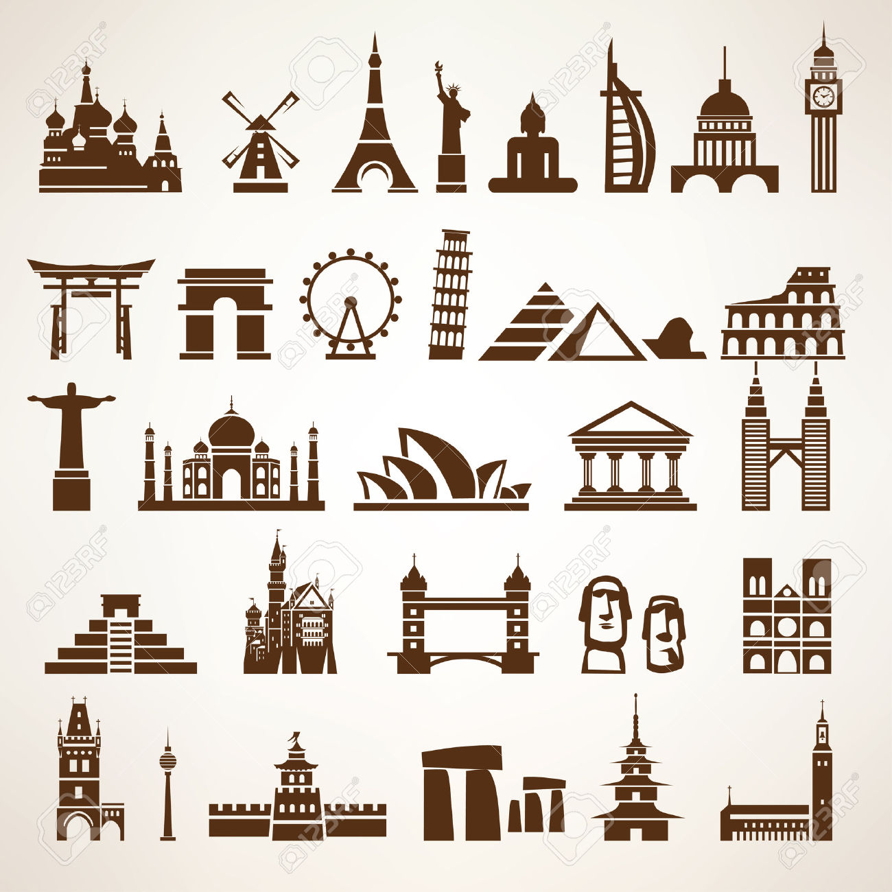Big Set Of World Landmarks And Historic Buildings Vector.