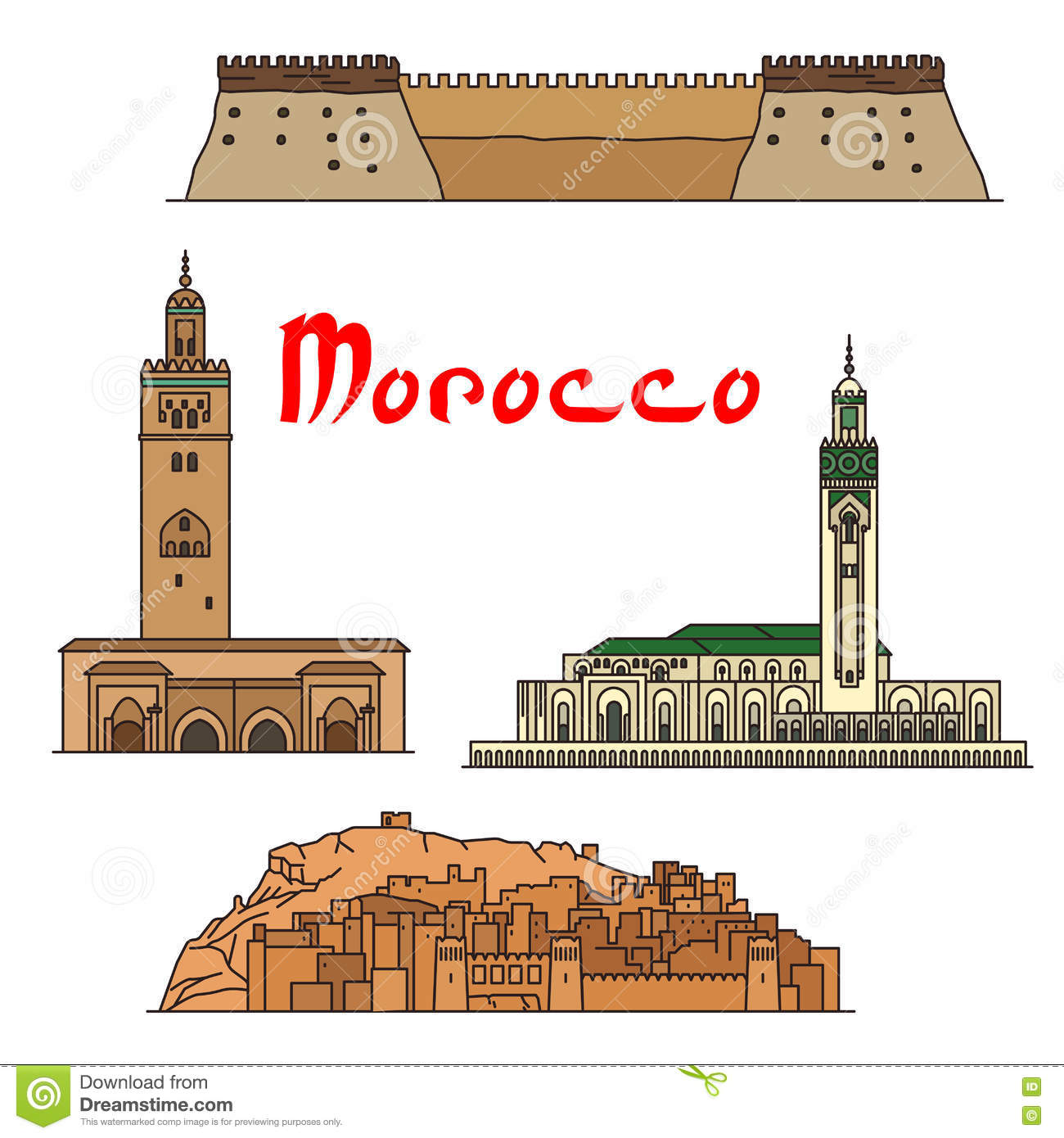 Morocco Historic Landmarks And Sightseeings Stock Vector.