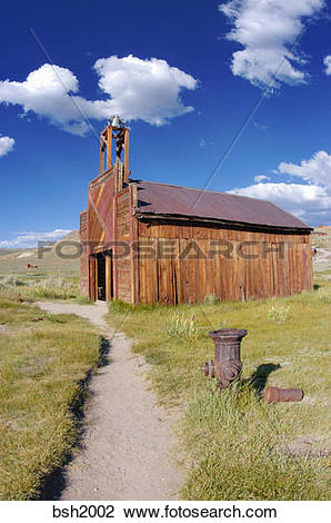 Stock Photo of The Bodie Firehouse and fire hydrant, Bodie State.