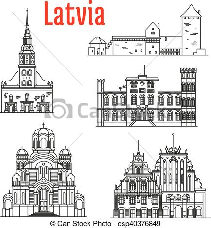 EPS Vector of Historic landmarks and sightseeings of Latvia.