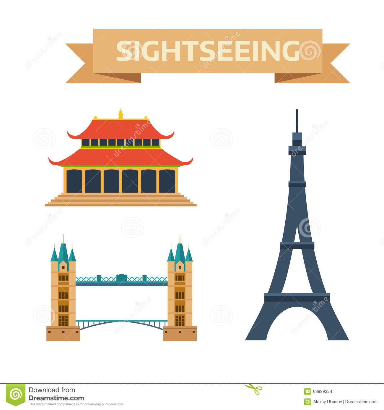 Sightseeing Eiffel Tower Paris, London Bridge, China Summer.
