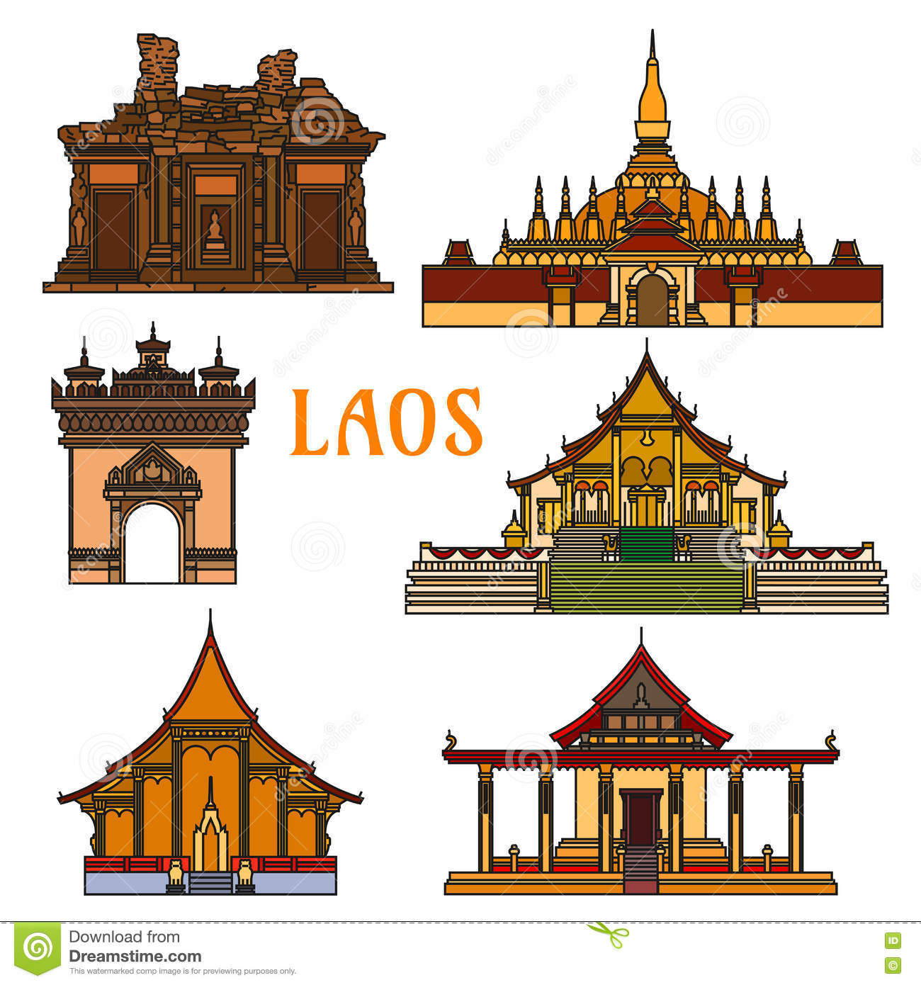 Historic Landmarks And Sightseeings Of Laos Stock Vector.