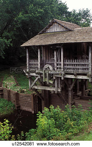 Stock Photography of grist mill, Abraham Lincoln, Petersburg, IL.