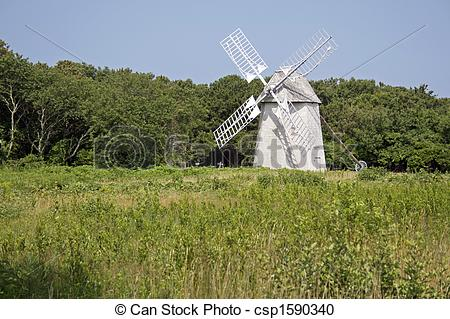 Stock Photography of An historic Cape Cod wind mill at Brewster.