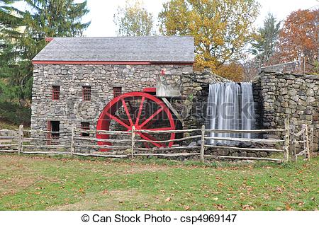 Picture of Red Grist Mill Wheel.