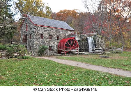 Stock Image of Afternoon Grist Mill.