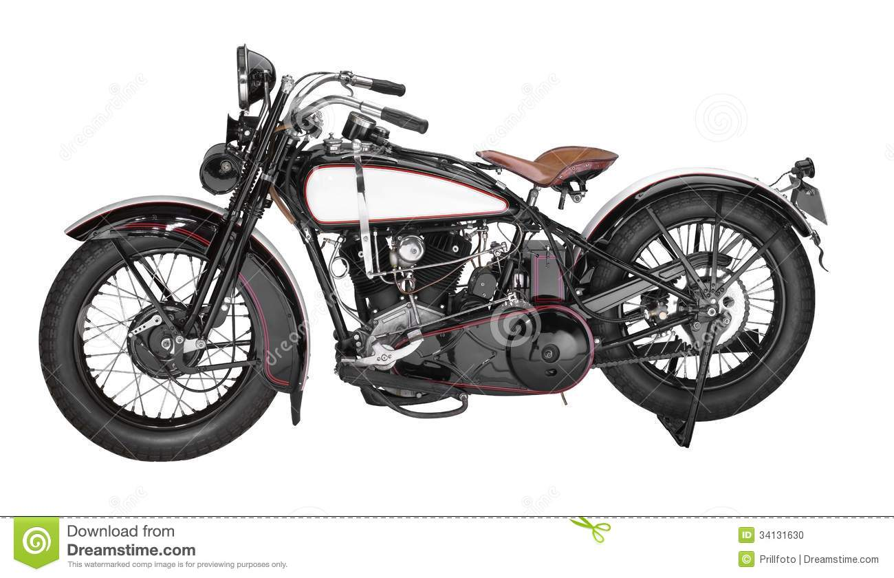 Vintage Motorcycle Stock Photo.