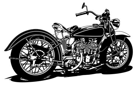 Vintage Indian Motorcycle Vector Black & White.